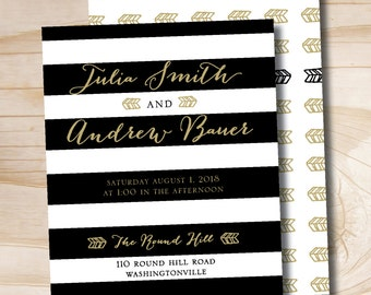 Black White and Gold Striped Wedding Invitation and Response Card Invitation Suite