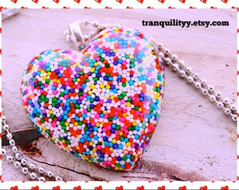 Sprinkle Heart Necklace Super Sweet Sprinkle Resin  Flat Heart Jumbo Mega Necklace  , Kawaii, Hipster, Scene By: Tranquilityy