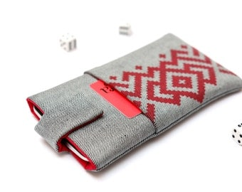 OnePlus 3, OnePlus 2, OnePlus X, OnePlus One sleeve case cover pouch with magnetic closure light jeans and red with pocket red ornament
