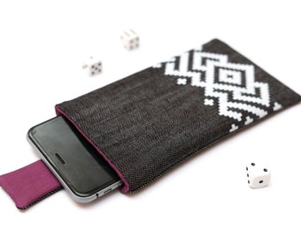 Nokia 6 sleeve, Nokia 5 sleeve case pouch with magnetic closure dark jeans with white ornament pattern