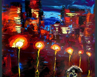 Print Giclee canvas Original Painting Modern Rainy Red Night Rain Contemporary Night Cityscape Umbrella fine Milen