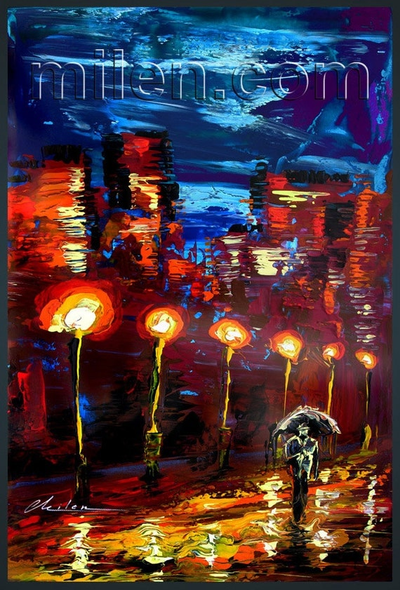 BOGO FREE SALE original Print Giclee canvas Original Painting Modern Rainy Red Night Rain Contemporary Night Cityscape Umbrella fine Milen