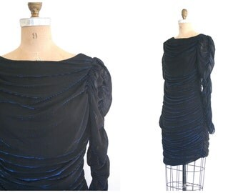 vintage 80s ruched coffin mini dress - vintage 80s mini dress / Halloween sexy witch - metallic electric blue / 80s punk dress - goth