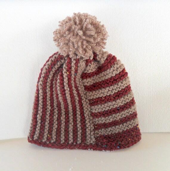 SALE - Beanie, Striped Knitted Pom Pom Beanie, Striped Knitted Hat, Pom Pom Beanie
