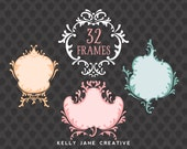 Wedding Clipart | Damask Frame Clipart | Wedding Frame Clip Art | Hand Drawn Clip Art | Vector Graphics |