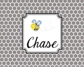 Monogrammed Laminated Placemat  BUMBLE BEE