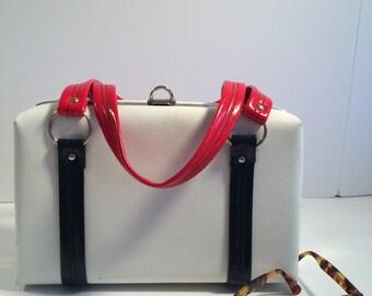 Dover Handbag Patent Leather White Red Blue