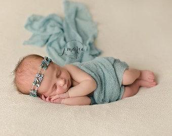 CHLOE--Floral Tieback--3 colors:  Aqua, pink, purple--newborn or any age prop/hair accessory