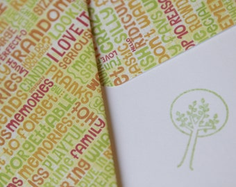 Set of 2 Stationery - Lime Orange Citrus Colors with Inspirational Words - Trees