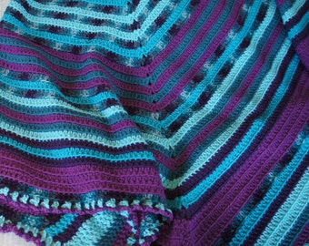 Purple and Teal Crocheted Afghan
