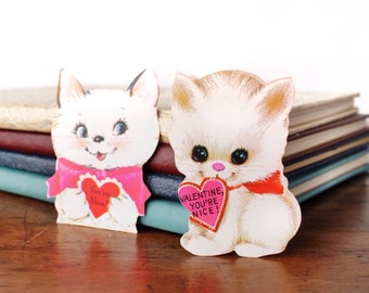 "Vintage valentine cards, two 1960s or 1970s kitten die cut greeting cards, white cats, red hearts, ""You're Nice!"" children's, kids, Hallmark"