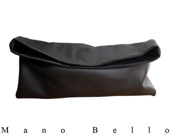 Minimalist leather bag , Mens womens Leather Clutch Italian Goatskin Dark Brown Leather Bag, Every day bag, Soft Leather Bag, Extraordinary