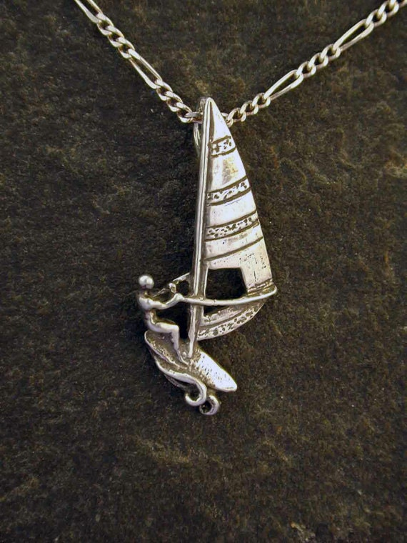 Sterling silver wind surfer pendant on a sterling silver chain for Wind chain online