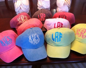 Monogrammed Adams Pigment dyed, cool liner, baseball cap - Preppy and cute...