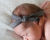 Soft Baby Headwrap - Gray with Sparkle Silver Dots