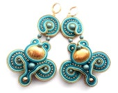 golden nuggat - spirals in turqoise and blue - soutache earrings - free shipping