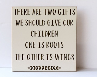 Two Gifts Children, Roots and Wings, Nursery Decor, Decor for Nursery, Child Room Decor, Art for Nursery, Art for Child, Family Decor,