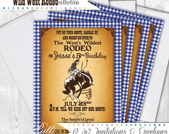 Western Party Invitations, 5X7 Custom Invitations by Cutie Putti Paperie