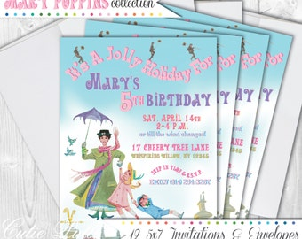 Mary Poppins Party Invitations, 5x7 Custom Invitations by Cutie Putti Paperie