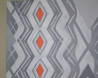 Original Diamond Orange and Grey Abstract Painting
