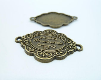 10pcs 25x40mm Antique Bronze Handmade Letter Connector Charm Pendant c3961