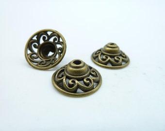 20pcs 6x14mm Antique Bronze  Bead Caps c4097