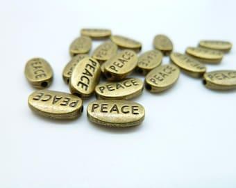 "50pcs 6x10mm Antique Bronze Small Letter ""Peace"" Spacer Bead c4373"
