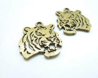 10pcs 24x27mm Antique Bronze  Tiger Charms Pendant C6810