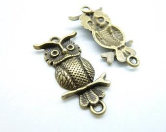 10pcs 15x33mm Antique Bronze Owl Charm Pendant Connector Link C6872