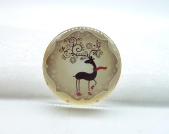 3pcs 25mm Handmade Photo Glass Cabochons ( Christmas Deer) GH18-34