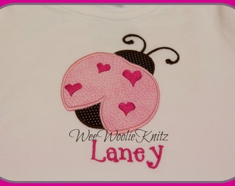 Girls PERSONALIZED Ladybug- T Shirt-Bib -Bodysuit- Applique- Baby Shower Gift-VALENTINE'S Day- Pink and Brown