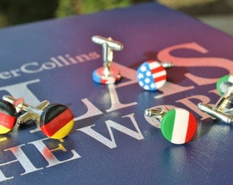 Polymer Clay Cuff Links... World Flags