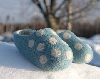 Felted Wool Slippers for Everyone. Sky Bluish  with White inside and White Polka Dots.