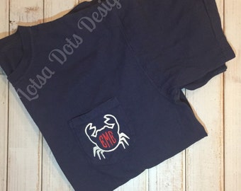 Crab Comfort Colors Short Sleeve Pocket Tee Shirt- preppy- cute- everyday-nautical