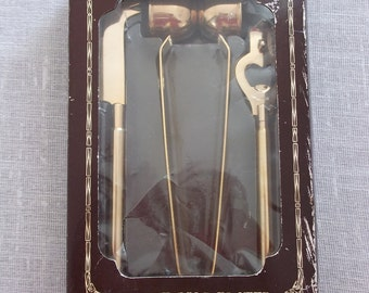 Vintage Taiwan Gold Plated Mini BAR WARE Set, New in Box