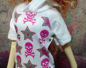 Pink and White Skulls Pullover Hooded 60cm/SD/SD13 BJD Dress