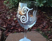 Monogram wineglass with monogram name  wine glass set