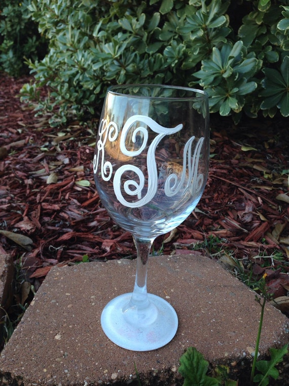 Monogram wineglass with monogram name  wine glass set