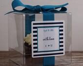 8 - Wedding Favor Cupcake Boxes - Horizontal Stripe Design - ANY COLOR-wedding favors, wedding cupcake box, personalized cupcake box