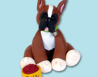 BUDDY the BOXER / Dog / Puppy / Handmade Polymer Clay Personalized Christmas Ornament