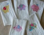 Personalized Elephants Burp Cloth Set