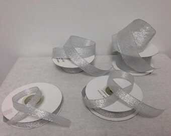 25 yards of Silver Lame Metallic Glitter Ribbon Choose Your Size