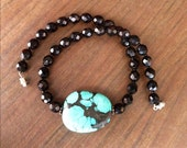 Natural Turquoise Large Bead Vintage Handmade Necklace Choker with Genuine Turquoise and Black Beads Valentine's Day Gift