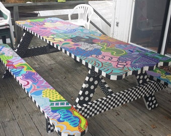 SOLD Handmade/painted  Picnic Table