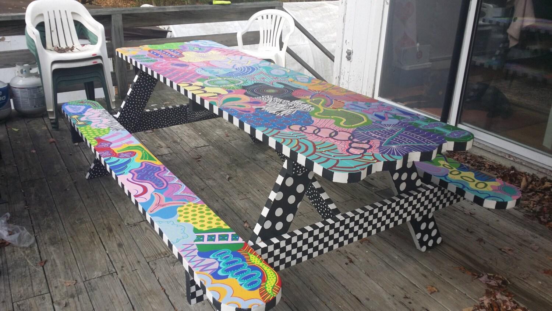 SOLD Handmadepainted Picnic Table By Debbiedidit2 On Etsy