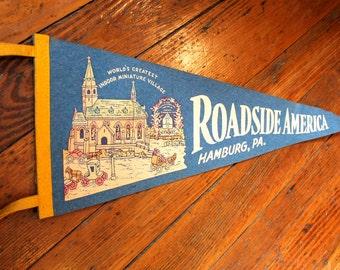Travel Souvenir..Vintage Roadside America Felt Pennant from Hamburg PA, Travel Pennant, Souvenir Pennant