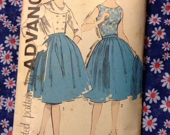 "Vintage Advance 9819 Full Skirt, Blouse & Cropped Jacket Sewing Pattern 31 1/2"" Bust"