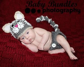 Newborn or 0-3 months  baby Kitty Cat diaper  cover hat set crochet Newborn photo props photography boy girl
