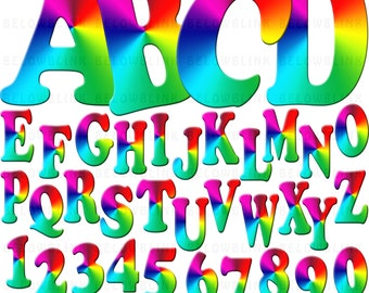 Rainbow Numbers and Uppercase Alphabet Clipart Clip Art Digital Scrapbooking Commercial Use - printable clipart - Instant Download  - DP302