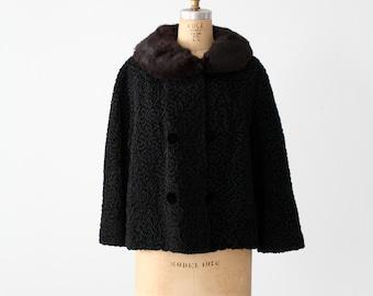 1950s faux Persian lamb coat with fur collar, vintage black winter coat